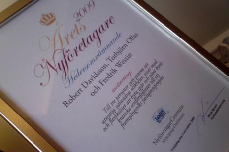 Diplom som delades ut på näringslivsbanketten 3 november 2009