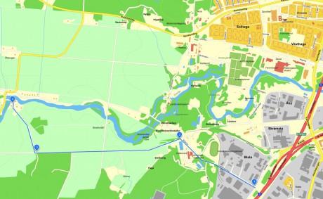 Karta på alternativ körväg